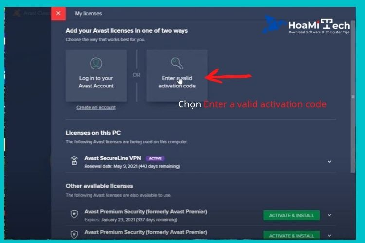 Chọn phầnEnter a valid activation code