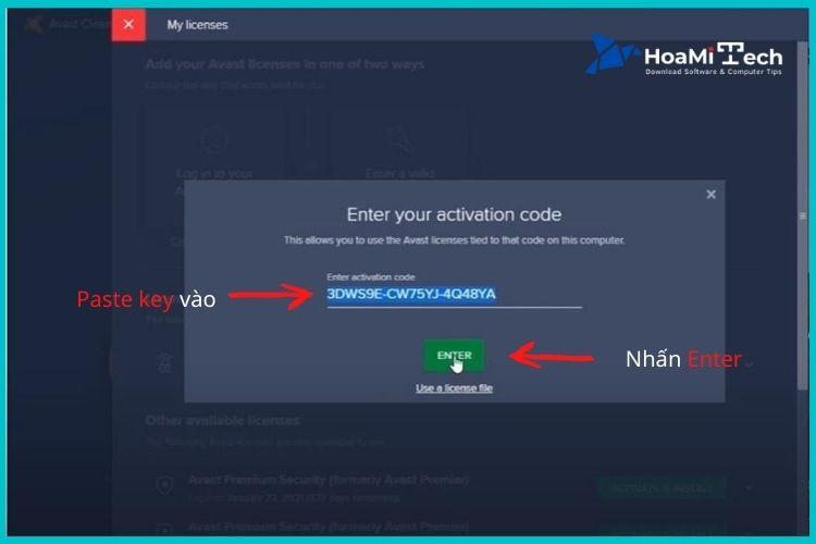 Copy key ở trên và Paste vào ô Enter Activation code