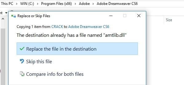 Nhấn chọn Replace the file in the destination