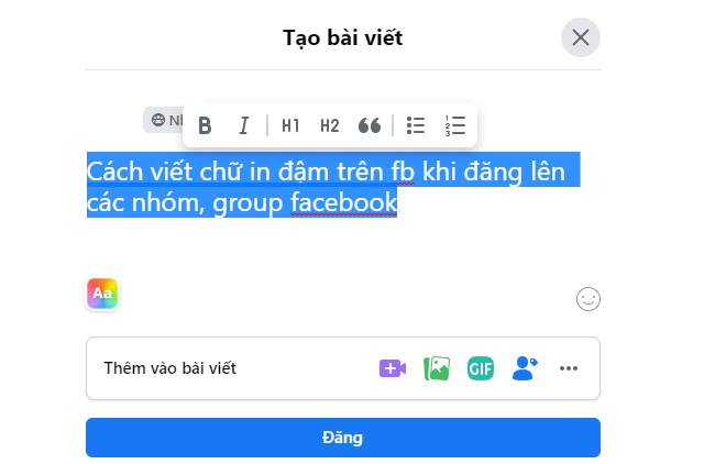 Tác dụng của việc viết chữ đậm Facebook