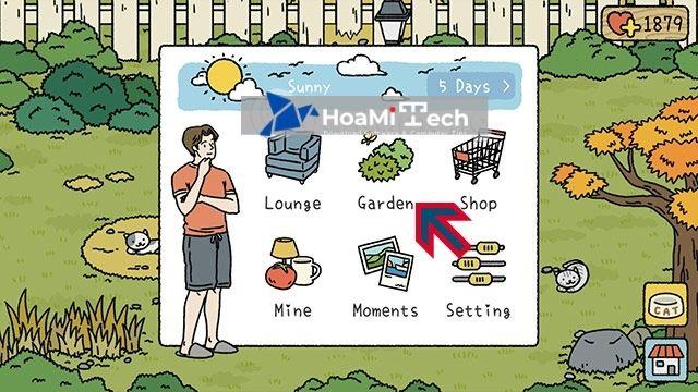 Bấm biểu tượng ngôi nhà và chọn Garden