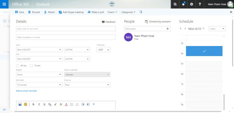 Calendar event Outlook Office 365