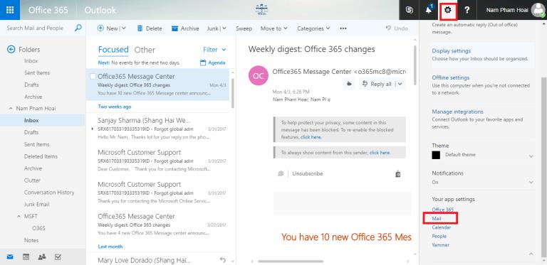 Cấu hình cơ bản Outlook Office 365