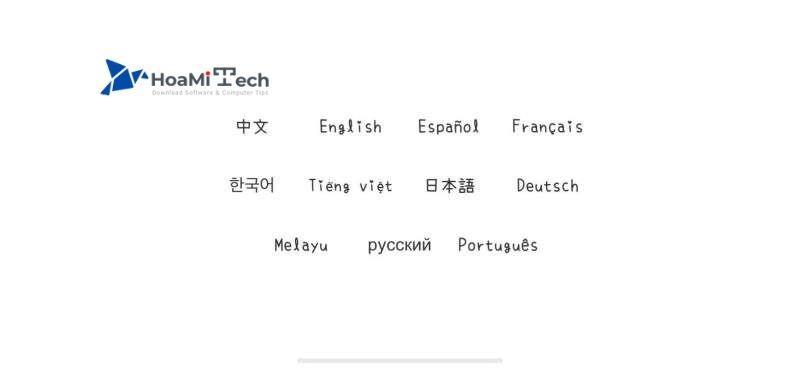 Chọn ngôn ngữ khi bắt đầu game