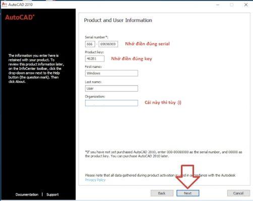 Copy dãy số sau để dán vào mục Serial Number và Product key