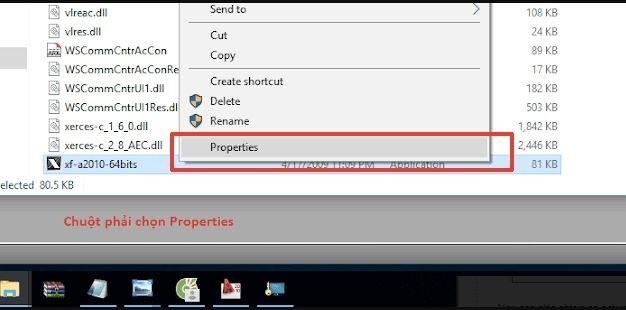 """Click chuột phải chọn """"Properties"""""""