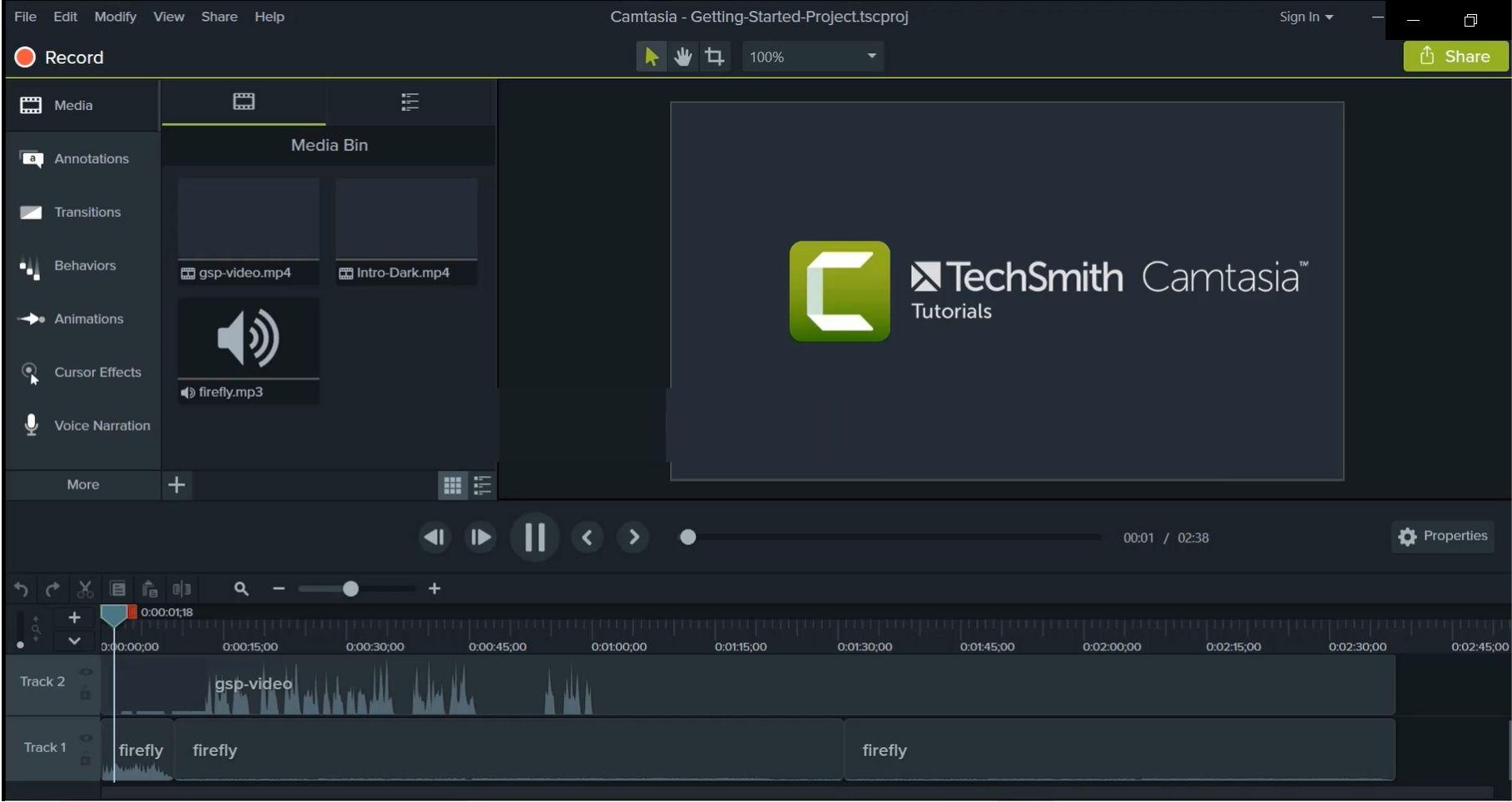 Giao diện phần mềm Camtasia Studio 9 phiên bản 9.1