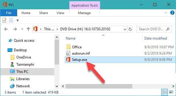 Nhấn chuột vào Setup.exe để tiến hành cài Office 2019