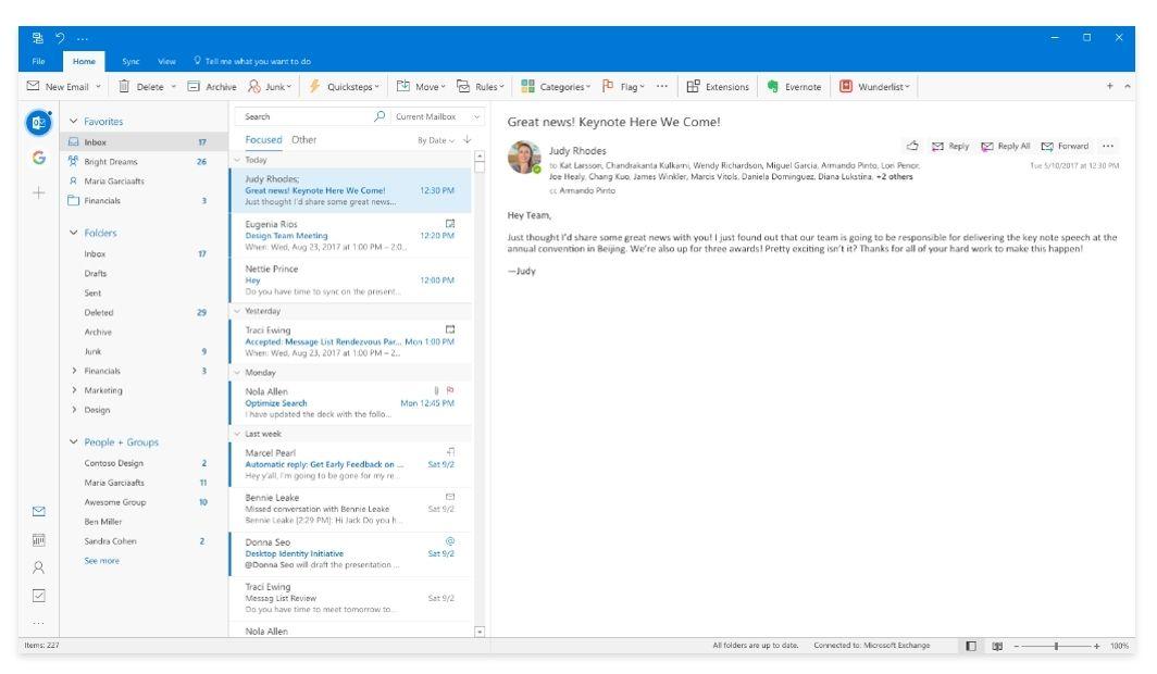Quản lý email dễ dàng hơn với Outlook 2019