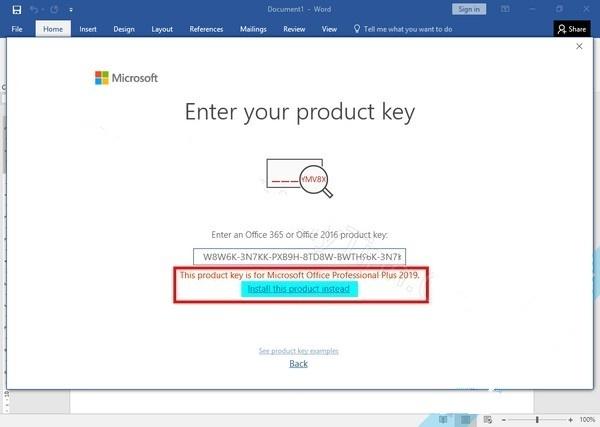 Copy một trong các key trên sau khi Office khởi động