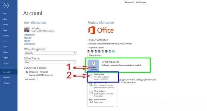 """Chọn """"Office Options"""" và chọn """"Update Now"""""""
