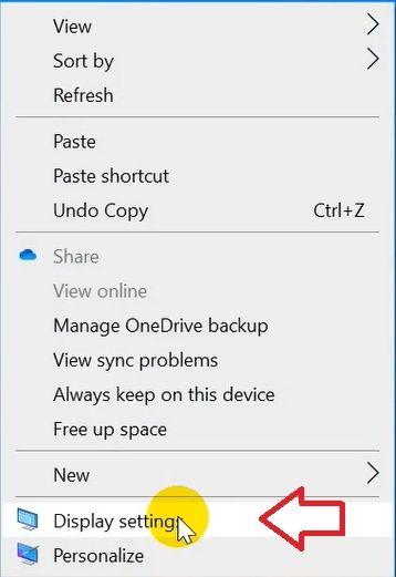 Nhấp chuột phải vào màn hình Desktop và chọn Display Settings