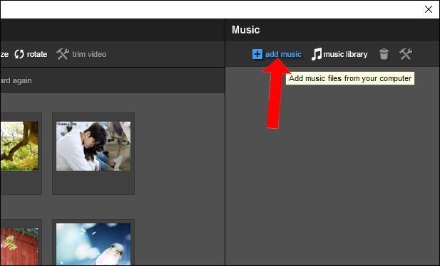 Để chèn âm thanh cho video tại mục Music nhấn vào Add music