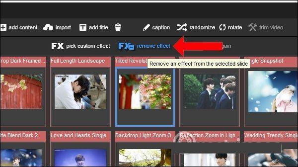 Click vào ảnh chọn Remove Effect