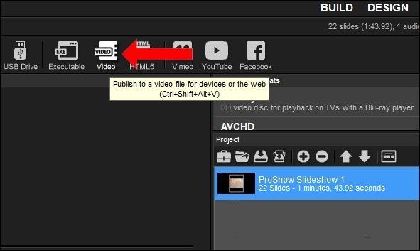 Để lưuslideshow dưới định dạng video, nhấn vào mụcVideo