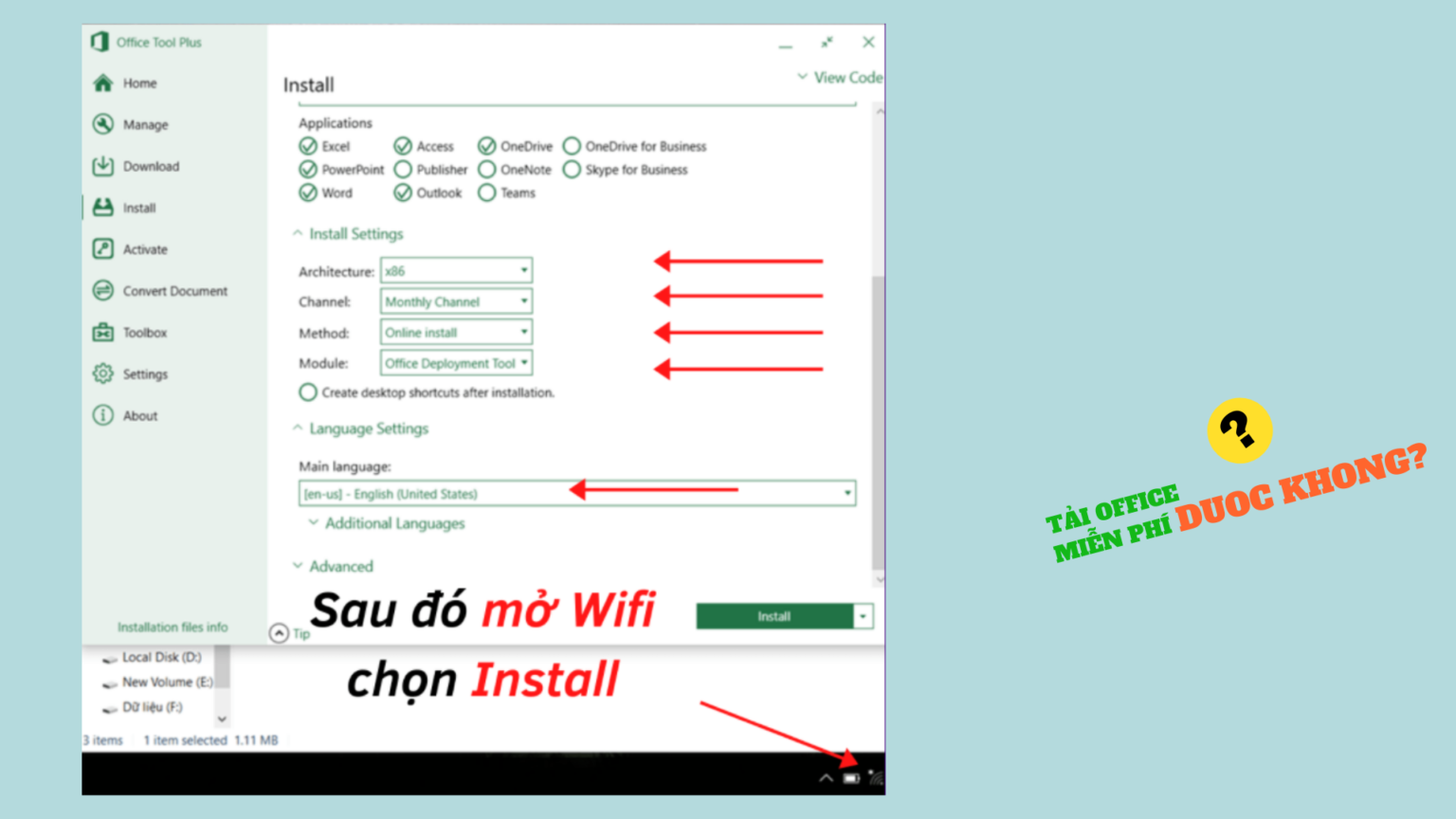 Mở Wifi và tải Office 365