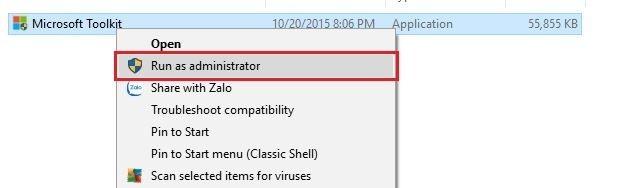 Nhấn Run as administrator để chạy phần mềm
