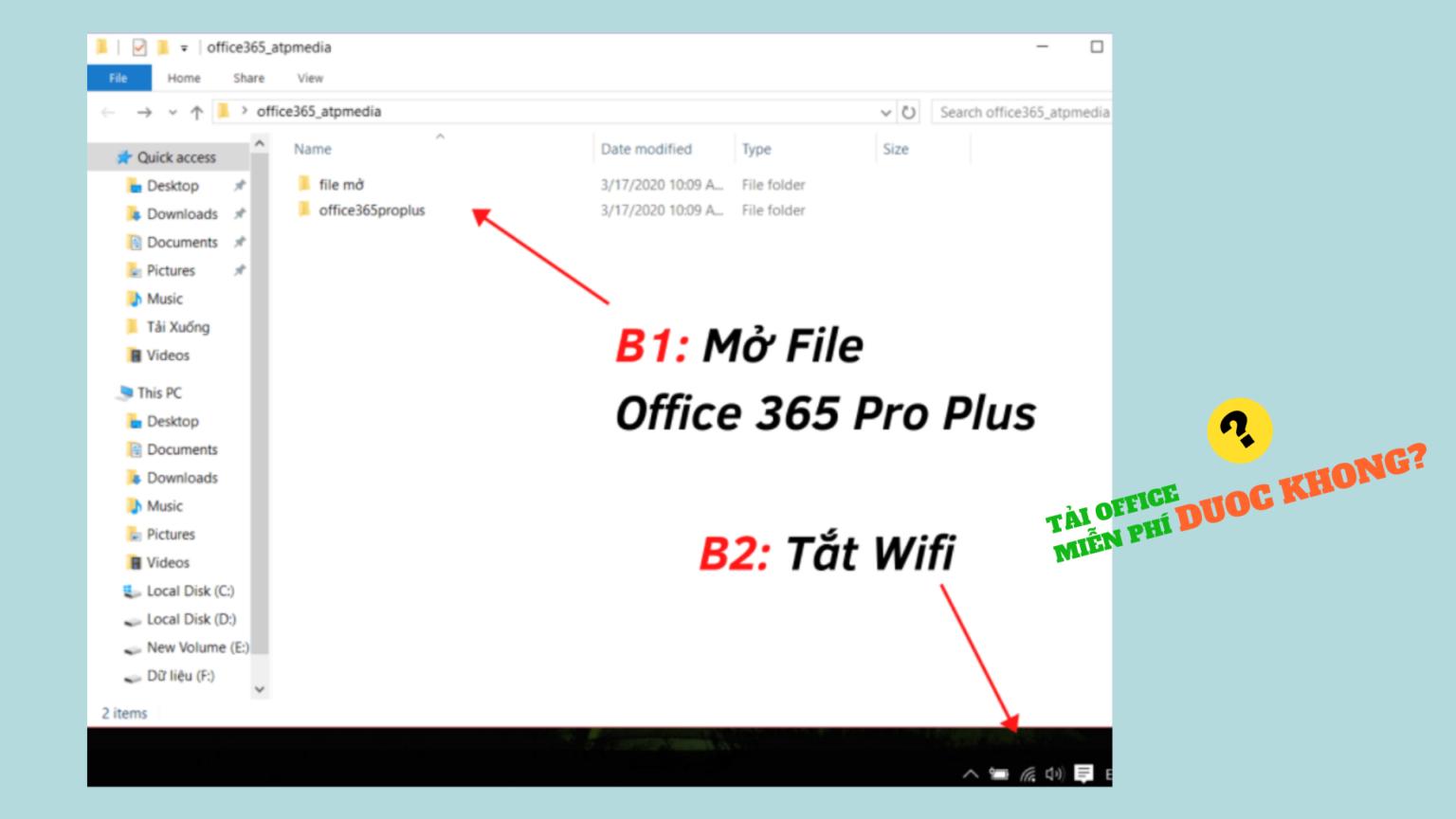 Tải về file cài đặt Office 365