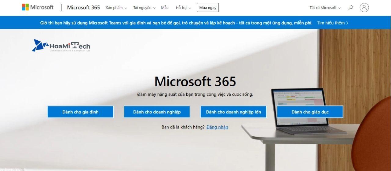 Truy cập vào Microsoft 365