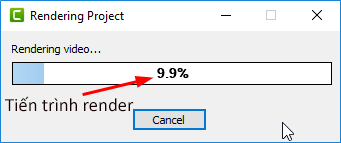 Đợi trong giây lát để quá trình Render video bắt đầu