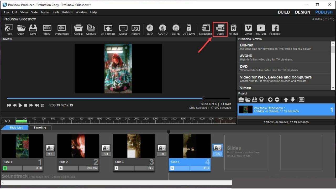 Cách xuất video trong proshow lưu vào máy tính