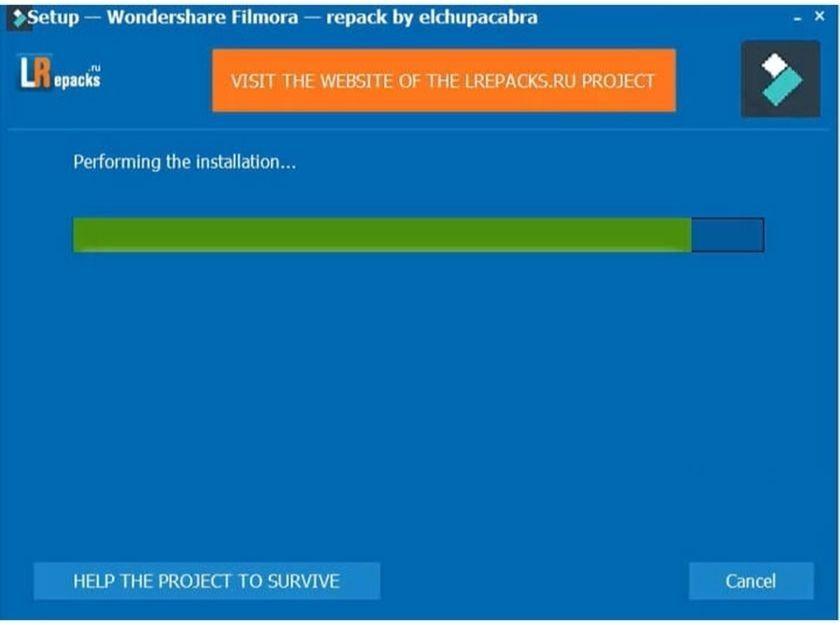Đợi khoảng vài phút để Filmora 9 hoàn tất cài đặt các file