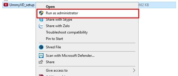 Chạy file setup dưới quyền admin