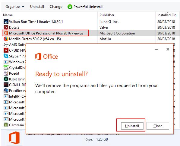 Xóa các phiên bản Microsoft Office khác đang sử dụng