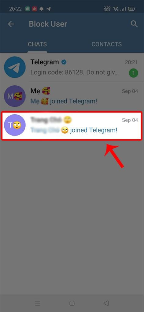 Chọn người muốn chặn Telegram