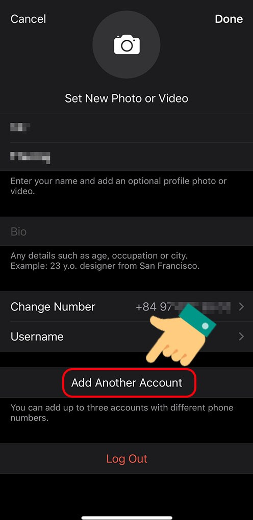 Chọn Add Another Account