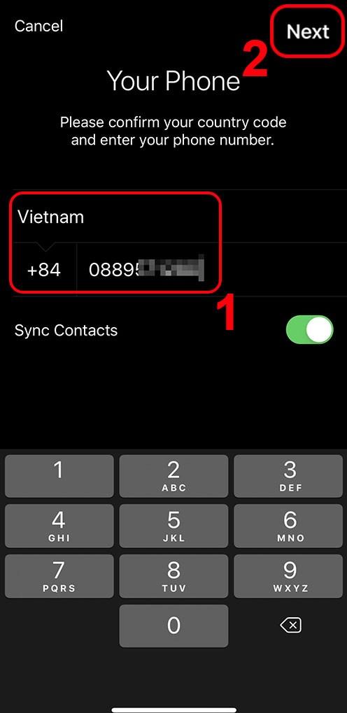 Nhập số điện thoại và chọn Next
