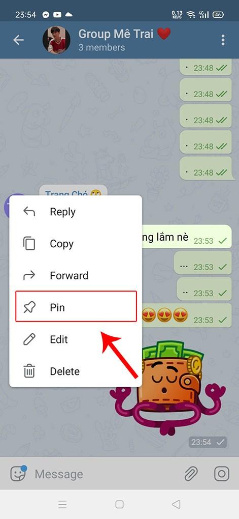 Chọn Pin tin nhắn