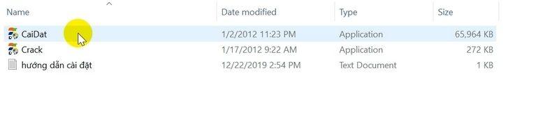 Bạn chạy file CaiDat như hình bên dưới