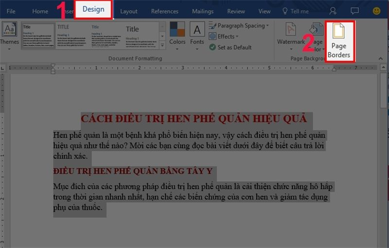 Tạo khung trong Word cho cả trang với page border