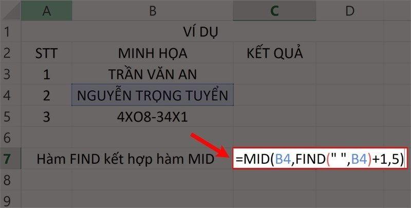 """Nhập hàm =MID(B4,FIND("""" """",B4)+1,5)vào ô bảng tính."""