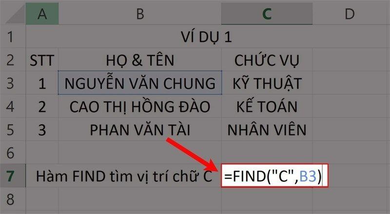 """Nhập hàm =FIND(""""C"""",B3) vào ô bảng tính Excel."""