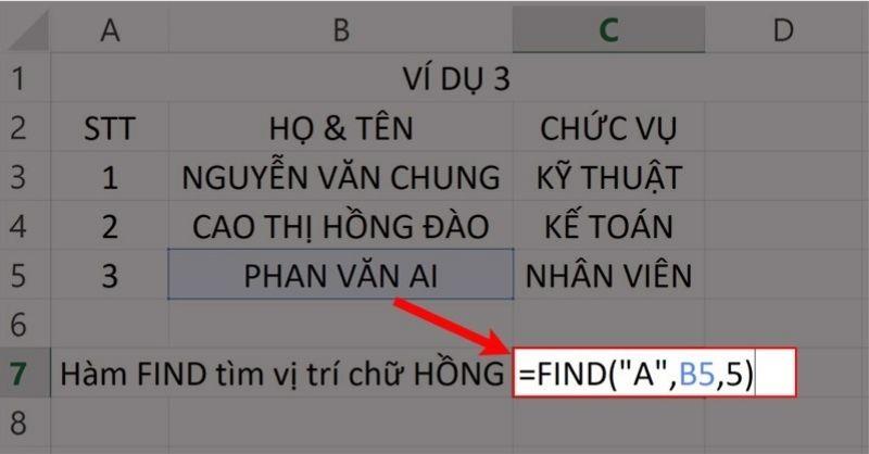 """Nhập hàm =FIND(""""A"""",B5,5)vào ô bảng tính."""