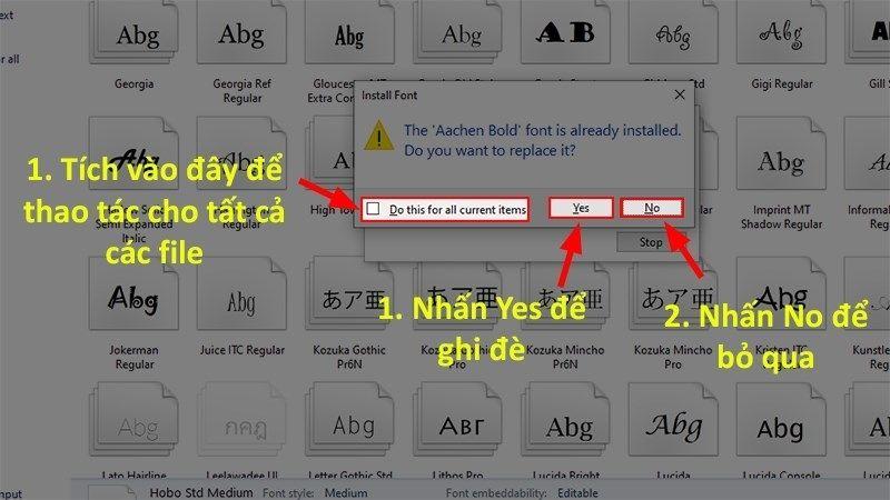 Thông báo có các font bị trùng lặp với font có sẵn trong máy
