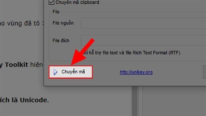 Nhấn vào Đảo bảng mã để Chuyển font chữ nguồn là TCVN3