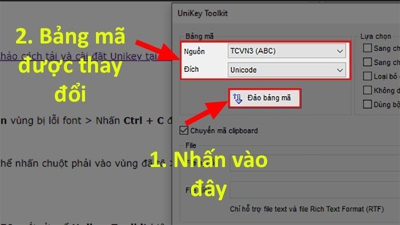 Nhấn vào Đảo bảng mã để Chuyển font chữ nguồn là TCVN3 (ABC)