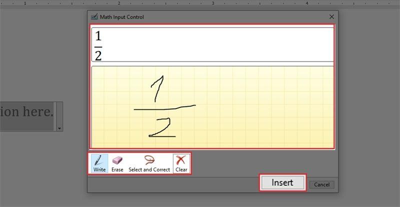 ChọnWritevà di chuột để viết phân số bạn muốn