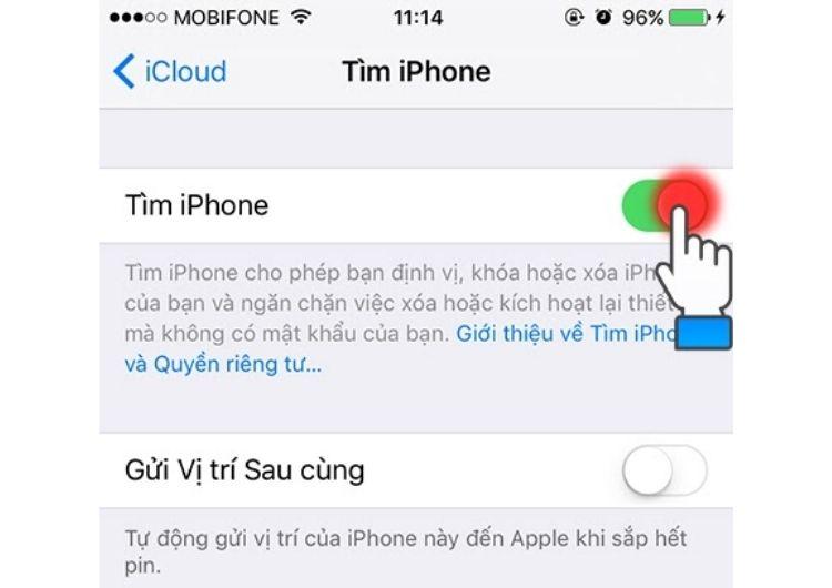 """Gạt thanh """"tìm iPhone"""" sang bên phải"""