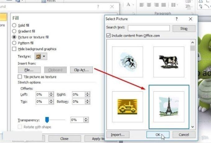 Chọn hình ảnh tại Clip Art chèn vào PowerPoint