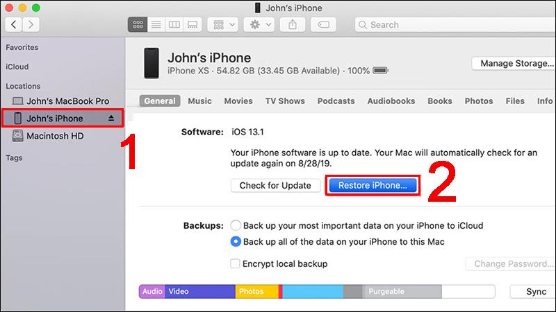 Nhấp vào nút Restore iPhone