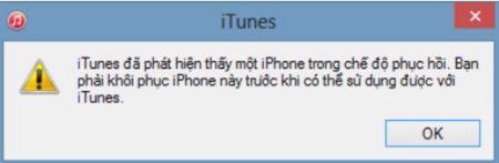 Đợi cho tới khi màn hình thông báo iTunes đã nhận kết nối