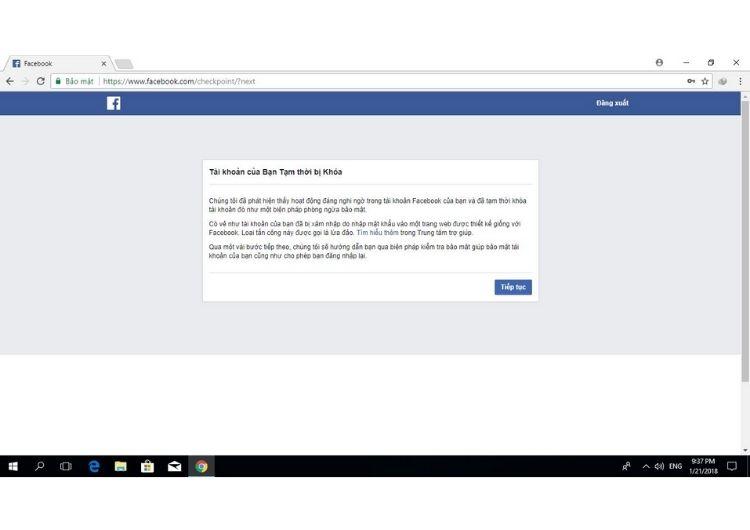 Nguyên nhân tài khoản Facebook bị khóa tạm thời