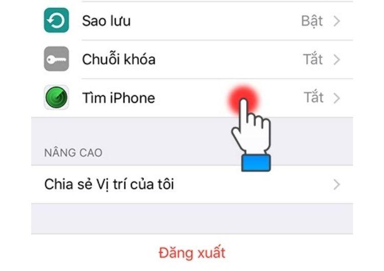 """Nhấn chọn """"tìm iPhone"""""""