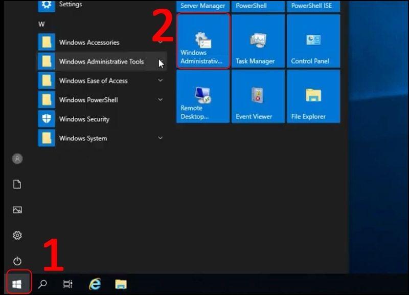 Mở Windows Administrative Tools