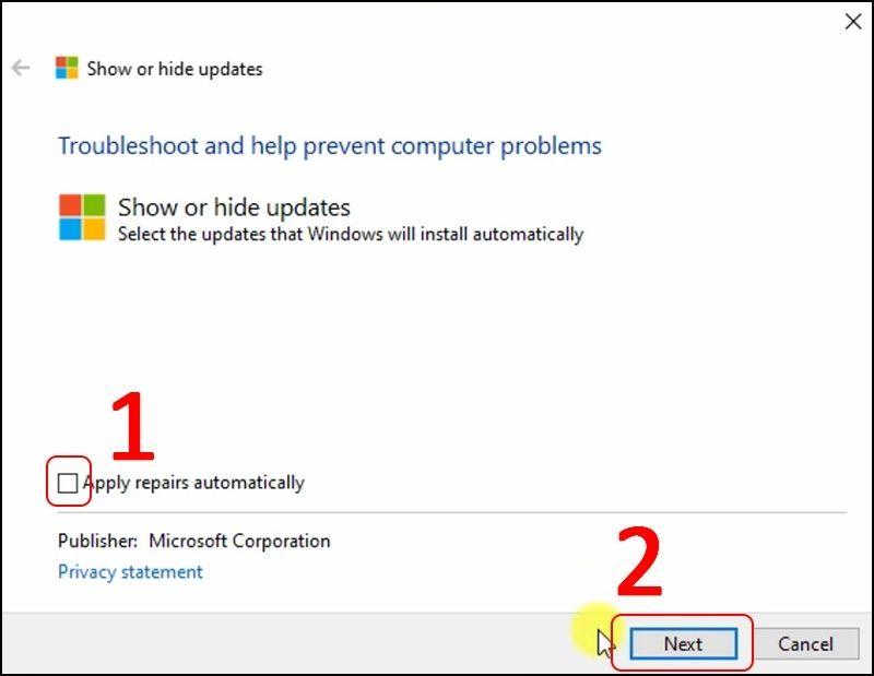Tick bỏ chọn mục Apply repairs automatically