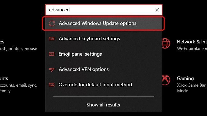 Mở Advanced Windows Update options
